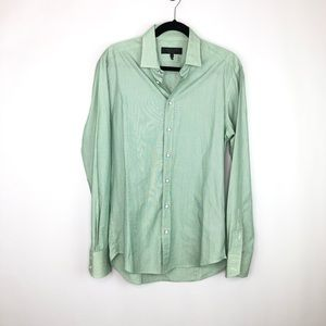 Rag & Bone Green and White Button Down Shirt Sz 16